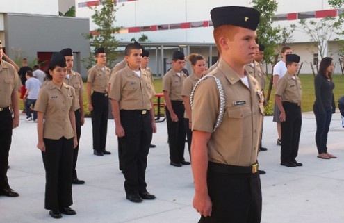 NJROTC cadet Teddy Sandoval doing drills in the courtyard. Sandoval has plans to join the Navy after graduation. Photo Credit: KYRA BACON
